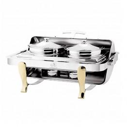 Buffet 2 nồi soup chữ nhật chân vàng (nắp PC )- DKS61181