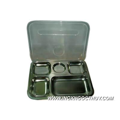 Khay cơm phần TQ 5 ngăn nhỏ inox có nắp - inoxngocthuy.com