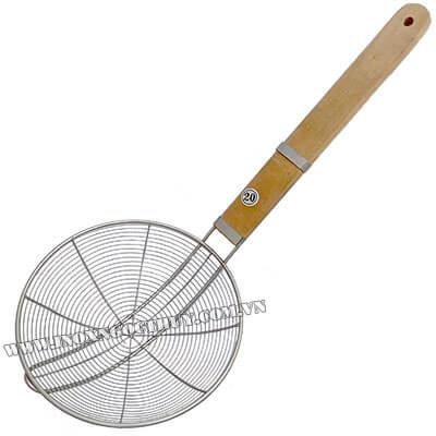 Vợt vòng inox cán gỗ 24cm - inoxngocthuy.com