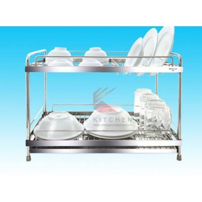 Kệ chén inox 2 tầng (304) 30x60cm có khay - inoxngocthuy.com